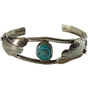 Vintage Native American Sterling and Turquoise Cuff Bracelet Beautiful Stone Fred Harvey Era