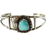 Vintage Navajo Turquoise Sterling Silver Cuff Bracelet Signed RBP Native American