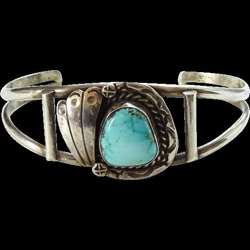 Vintage Navajo Turquoise Sterling Silver Cuff Bracelet Signed RBP Native American