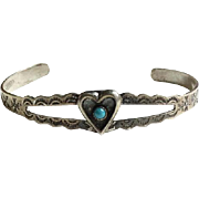 Vintage Maisel's Indian Trading Post Turquoise Cuff Bracelet Heart Shape Small Size