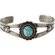Old Navajo Turquoise Cuff Bracelet Sterling Silver Handmade Stamp Decorated Native American Small Size