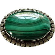 Vintage Green Malachite Gemstone Oval Brooch Pin Marked 925 Sterling Silver