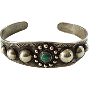 Old Native American Fred Harvey Era Green Turquoise Sterling Satellite Cuff Bracelet with Orbs Stamp Decoration