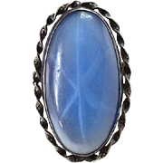 Vintage Blue Star Sapphire and Sterling Silver Ring Size 7.5