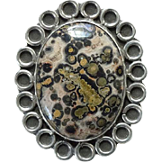 Vintage Taxco Mexico Gemstone Pin Brooch 925 Sterling TP-99 Signed
