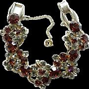 Juliana Cluster Bracelet 5 Link Topaz and Smoke Rhinestones Goldtone Setting DeLizza and Elster Verified