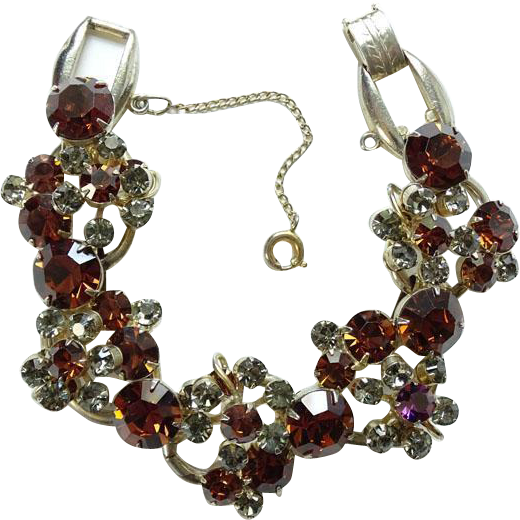 Juliana Cluster Bracelet 5 Link Topaz and Smoke Rhinestones Goldtone Setting DeLizza and Elster Verified