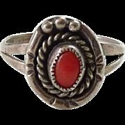 Vintage Southwest Coral Ring Signed JM James Martin Sterling Silver Size 6.5