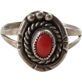 Vintage Southwest Coral Ring Signed JM James Martin Sterling Silver Size 6.5