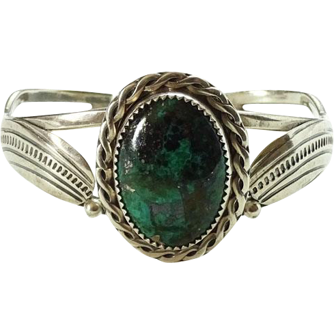 Native American Alvin Boy Navajo Morenci Turquoise Silver Cuff Bracelet Hallmarked AJB Sterling