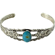 Old Zuni Thunderbird Turquoise Cuff Bracelet Signed JP Sterling Jason Ukestine Small