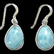 Vintage Larimar Gemstone Pierced Dangle Earrings 925 Sterling Silver Blue Aqua Ocean Color