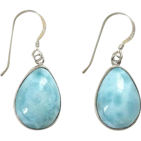 Vintage Larimar Gemstone Pierced Dangle Earrings 925 Sterling Silver Blue Aqua Ocean Color