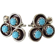 Vintage Native American Snake Eye Turquoise Pierced Post Sterling Silver Stud Earrings