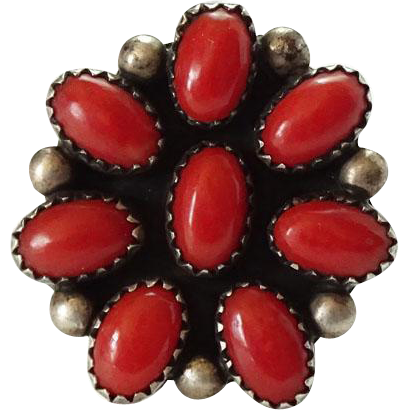 Vintage Native American Coral and Sterling Cluster Ring Signed TM Size 6.5
