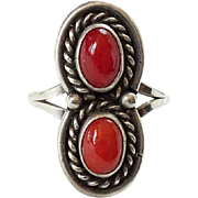 Native American Double Red Coral and Sterling Silver Ring Size 8.25