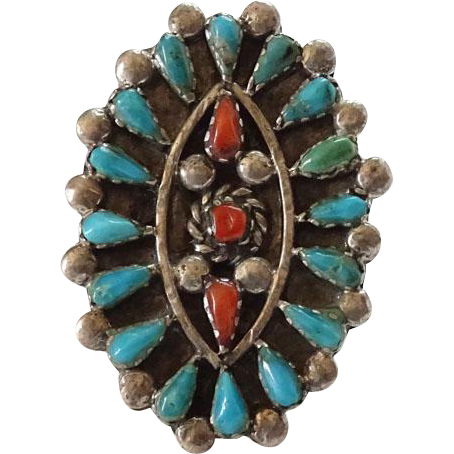 Old Native American Turquoise and Coral Petit Point Sterling Cluster Ring Size 4.75