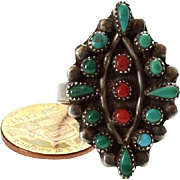 Old Native American Turquoise and Coral Sterling Silver Cluster Ring Size 9.5