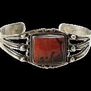 Old Navajo Petrified Wood Sterling Silver Cuff Bracelet Native American Navajo Jewelry