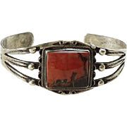 Old Navajo Petrified Wood Sterling Silver Cuff Bracelet Native American Navajo Jewelry