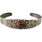 Old Navajo Petrified Wood Sterling Cuff Bracelet C1940s Stamp Decoration Native American Navajo Jewelry