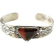 1940s Fred Harvey Navajo Petrified Wood Sterling Cuff Bracelet Old Repairs