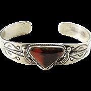 1940s Fred Harvey Navajo Petrified Wood Sterling Cuff Bracelet Old Repairs