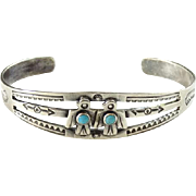 Small Navajo Double Thunderbird Turquoise Cuff Bracelet Stamp Decoration Native American