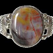 Old Navajo 1940s Petrified Wood Cuff Bracelet Sterling Silver Heavy Native American