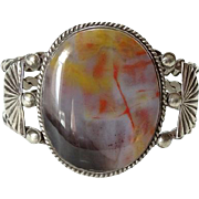 Old Navajo 1940s Petrified Wood Cuff Bracelet Sterling Silver Heavy Native American