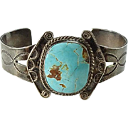 Old Navajo Blue Gem Turquoise Sterling Cuff Bracelet Handmade Native America