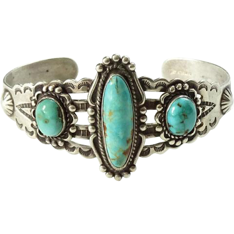 Bell Trading Post Turquoise Sterling Cuff Bracelet Fred Harvey Stamp Decoration Repaired