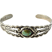Old Silver Products Turquoise Cuff Bracelet Coin Silver Arrow Mark Fred Harvey Era