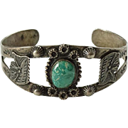 Old Navajo Turquoise Chief's Head Cuff Bracelet Fred Harvey Era Book Piece Sterling