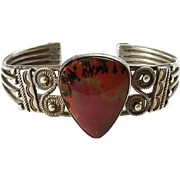 1940s Navajo Petrified Wood Sterling Cuff Bracelet Fred Harvey Era