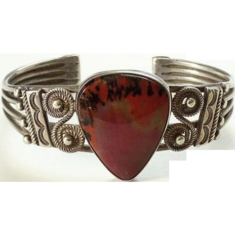 1940s Navajo Petrified Wood Sterling Cuff Bracelet Fred Harvey Era