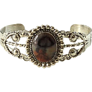 Fred Harvey Era Bell Trading Post Petrified Wood Cuff Bracelet Sterling Navajo Native American