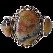 Navajo Three Stone Petrified Wood Cuff Bracelet Sterling Silver C1940s Native American