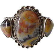 Navajo Three Stone Petrified Wood Cuff Bracelet Sterling Silver C1940s Native American