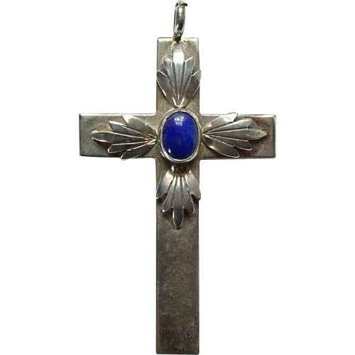 Vintage Lapis Lazuli and Sterling Religious Cross Necklace Pendant Southwestern Signed PP