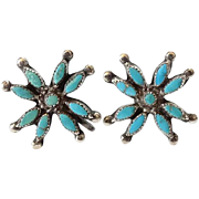 Old Zuni Native American Turquoise Cluster Needlepoint Starburst Screwback Earrings Sterling