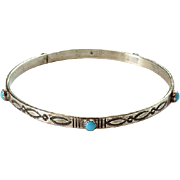 Navajo Artist DK Dennis Kalisteo Turquoise Bangle Bracelet Sterling Silver Stamp Decorated Hallmarked