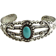 Vintage Navajo Turquoise Cuff Bracelet Bell Trading Post Fred Harvey Era Sterling Silver
