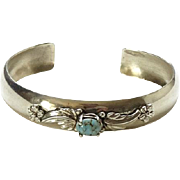 Vintage 1986 Carol Felley Sterling Silver Turquoise Cuff Bracelet Floral Applique Southwest Design