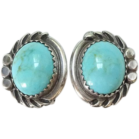 Southwestern Native American Turquoise Clip Earrings Hallmarked Sterling Oval Shape