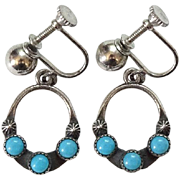 Old Maisel's Indian Trading Post Turquoise Screwback Dangle Earrings Hallmarked Sterling Fred Harvey Era