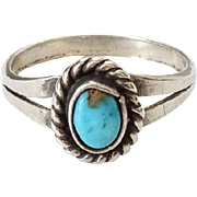 Old Navajo Turquoise Sterling Ring Size 7.25 Oval Fred Harvey Era Native American