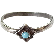 Old Native American Vintage Turquoise and Sterling Silver Stacking Ring Size 6.25