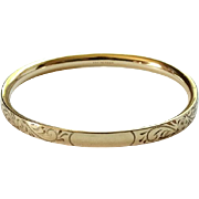 1966 GF Gold Filled Oval Bangle Hinged Bangle Bracelet Signed A & Z 1/20 12K No Monogram