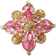 Juliana Pink Rhinestone Starburst Brooch Pin with Goldtone Filigree Balls C1964-65